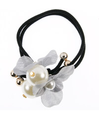 Gumička do vlasů dvouřadá s květinou a perlou