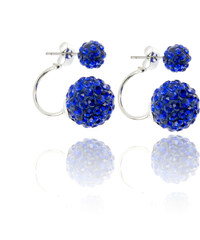 Náušnice s dvěma kuličkami s krystalky barevné