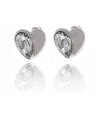 Náušnice masivní půlené srdce s krystalem NE0844-0312