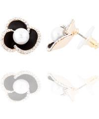 Náušnice kytičky s krystalky a perlou NE0825-0314