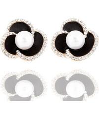Náušnice kytičky s krystalky a perlou NE0825-0312