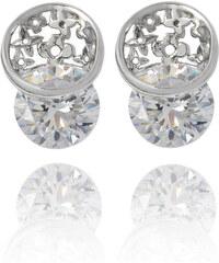 Náušnice krystal a kytičky rhodiovaný povrch NE0806-0212