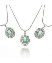 Přívěsek kulatý ze stříbra s zeleným krystalkem krystal stříbro zirkon krystal zirkon kulaté elegantní ples a svatba s kamínkem 0912