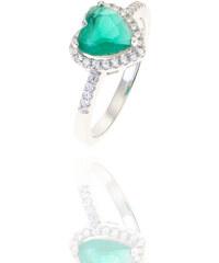 Prsten ze stříbra ve tvaru srdce zelený PR0125-095712