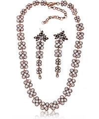 Sada náušnice a náhrdelník krystaly a patina SD0080-14