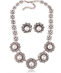 Sada náhrdelník a náušnice sedmikráska s perlou SD0079-12