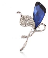 Brož květina kala modré krystalky BR0185-0312