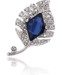 Brož list modrý krystal BR0184-0312
