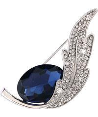 Brož lístek s modrým krystalem krystal krystal rostliny a květiny elegantní ples a svatba s kamínkem 0312