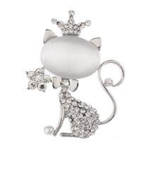 Brož kočička s krystalky, kamenem a perličkou BR0179-0312