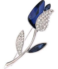 Brož kytička s modrými krystalky BR0180-0312