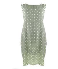 Dámské šaty Pure Flex puntíkaté z přírodního lnu