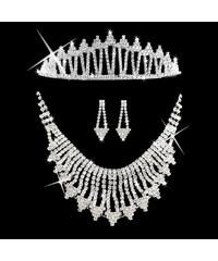 Štrasová sada Triangle náhrdelník, náušnice a korunka SD0070-12