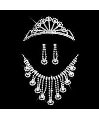 Plesová štrasová sada Sea náhrdelník náušnice a korunka SD0067-12