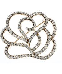 Brož rozkvetlé poupě s krystalky ve zlaté bervě BR0137-0314