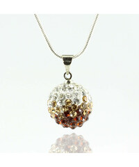 Přívěsek discoballs dvoubarevný velké s krystaly + řetízek ZDARMA PK0419-0308