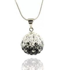 Přívěsek discoballs dvoubarevný velké s krystaly + řetízek ZDARMA PK0419-0302