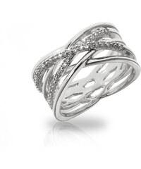 Prsten výrazný překřížený s krystalky PR0114-035507