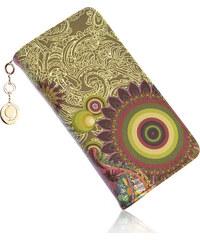 Dámská peněženka Sun Flower ornament, květiny a mandaly