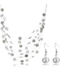 Sada náhrdelník a náušnice krystalky a placky SD0058-13