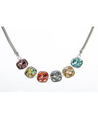 Náhrdelník barevné krystaly povrch platina NK0200-0315
