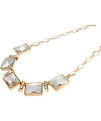 Náhrdelník obdélníky s krystaly pokovený zlatem NK0197-0201