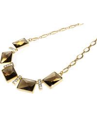 Náhrdelník obdélníky s krystaly pokovený zlatem NK0197-0214