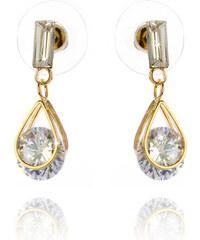 Náušnice visací kapky s krystalem a zlatým kovem NE0372-0314