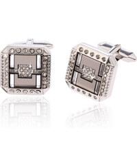 Manžetové knoflíky masivní čtverec s krystalky MK0043-0312