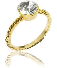 Prsten krystal zlatý kov PR0085-036001