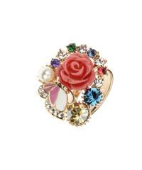 Prsten růžička a motýl koktejlový PR0080-035Y09