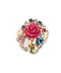 Prsten růžička a motýl koktejlový PR0080-035Y36