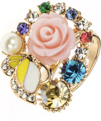 Prsten růžička a motýl koktejlový PR0080-035Y35