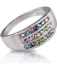 Prsten barevný s krystaly Swarovski elements PR0022-035432