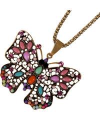 Přívěsek s řetízkem etno motýl s korálky PK0215-0332