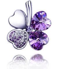 Brož čtyřlístek s krystaly Swarovski elements BR0028-0124