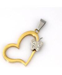 Přívěsek z chirurgické oceli zlaté srdce PK0132-0114