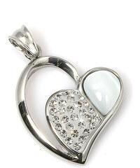 Přívěsek srdce avanturín a krystalky Swarovski elements PK0133-0101