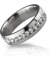 Prsten z chirurgické oceli s krystaly po obvodu PR0007-016307