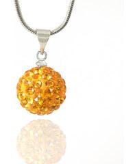 Přívěsek kulička střední s krystaly +řetízek ZDARMA PK0082-0309