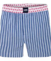 Happy Shorts Boxershorts 'Streifen', blau mit Herzchen