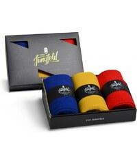 Von Jungfeld 3-Pack Herrensocke 'Dreierlei', blau, gelb, rot