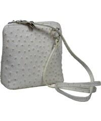 malá bílá kožená kabelka přes rameno Grana Beige Struzzo