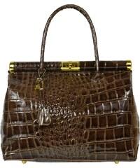Hnědé kožené kabelky Laureta Marrone Cocco Lucida 2