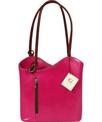 NovaKabelka.cz růžové kožené kabelky přes rameno Clarise Fuxia Marrone