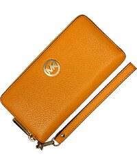 Žlutá kožená peněženka Michael Kors NS Fulton Vint Yellow