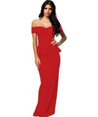 Červené dlouhé peplum šaty 7b18f1dd8a