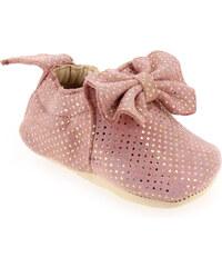 Chaussons de naissance Bébé fille Easy Peasy en Cuir Rose