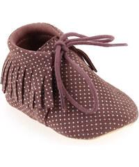 Chaussons de naissance Bébé fille Easy Peasy en Cuir Violette