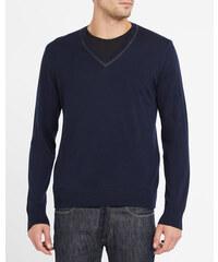 THE KOOPLES Marineblauer Wollpullover mit V-Ausschnitt und schwarzem Ledereinsatz